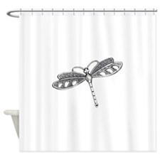 Metallic Silver Dragonfly Shower Curtain