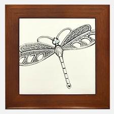 Metallic Silver Dragonfly Framed Tile