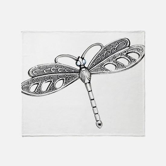 Metallic Silver Dragonfly Throw Blanket