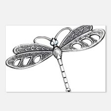 Metallic Silver Dragonfly Postcards (Package of 8)