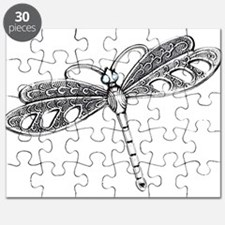 Metallic Silver Dragonfly Puzzle