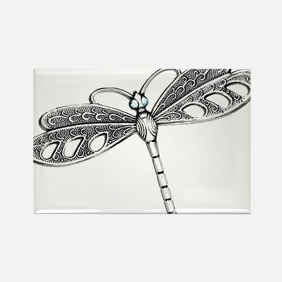 Metallic Silver Dragonfly Magnets