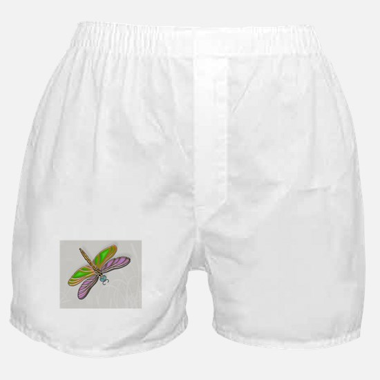 Purple Green Dragonfly in Reeds Boxer Shorts