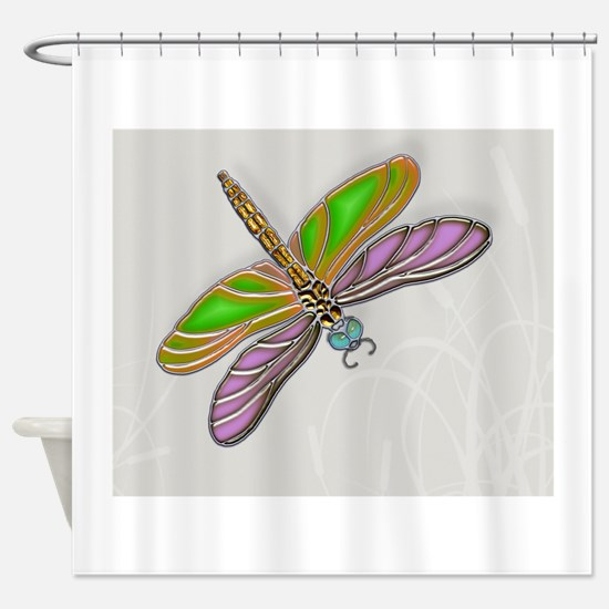 Purple Green Dragonfly in Reeds Shower Curtain