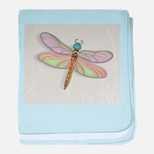 Lavender and Light Green Dragonfly baby blanket