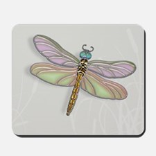 Lavender and Light Green Dragonfly Mousepad