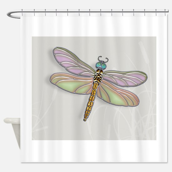 Lavender and Light Green Dragonfly Shower Curtain
