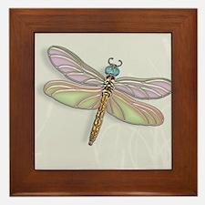 Lavender and Light Green Dragonfly Framed Tile