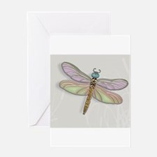 Lavender and Light Green Dragonfly Greeting Cards