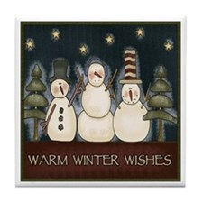 Warm Winter Wishes Tile Coaster