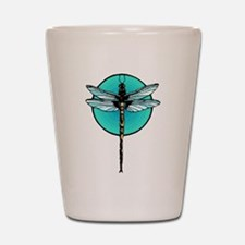 Mosaic Dragonfly in Turquoise Circle Shot Glass