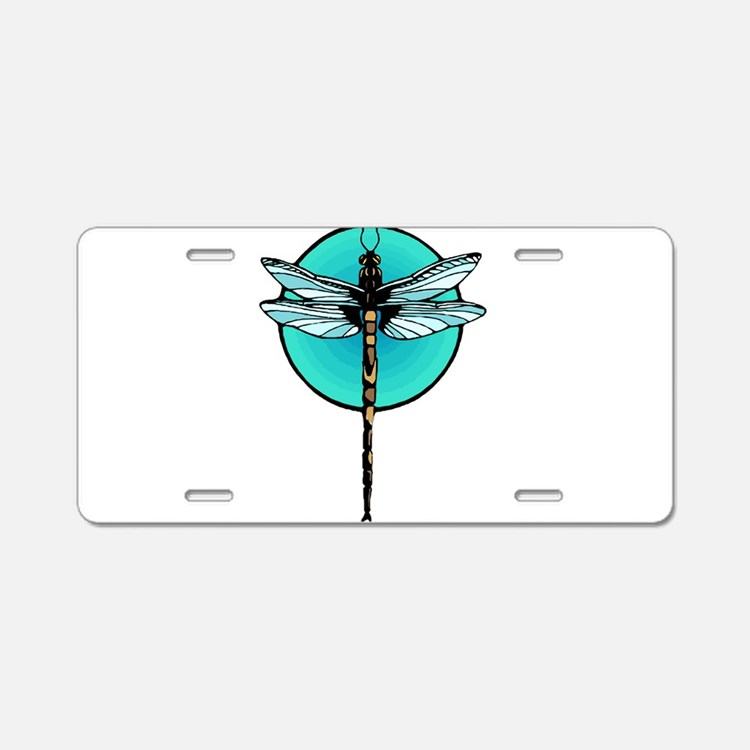Mosaic Dragonfly in Turquoi Aluminum License Plate