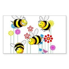 Buzzed Bees in Flowers Decal