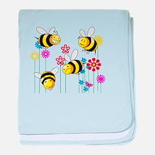 Buzzed Bees in Flowers baby blanket