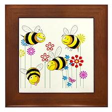 Buzzed Bees in Flowers Framed Tile