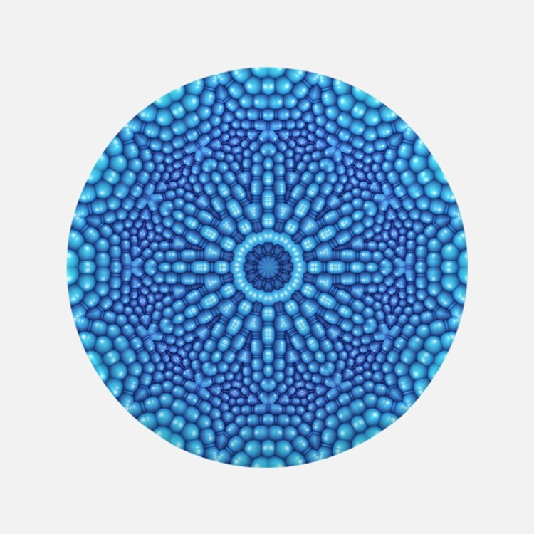 "Blue Zen Mandala 3.5"" Button"