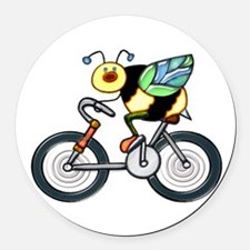 Bee on a Bike Round Car Magnet