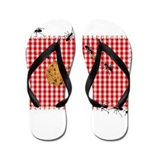 Ant Picnic on Red Checkered Cloth Flip Flops