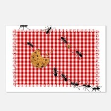 Ant Picnic on Red Checker Postcards (Package of 8)