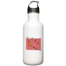 Ant Picnic on Red Chec Water Bottle