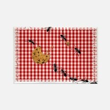 Ant Picnic on Red Checkered Cloth Magnets