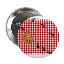"Ant Picnic on Red Checkered 2.25"" Button (10 pack)"