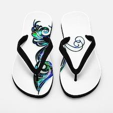 Abalone Shell Art Deco Butterfly Flip Flops