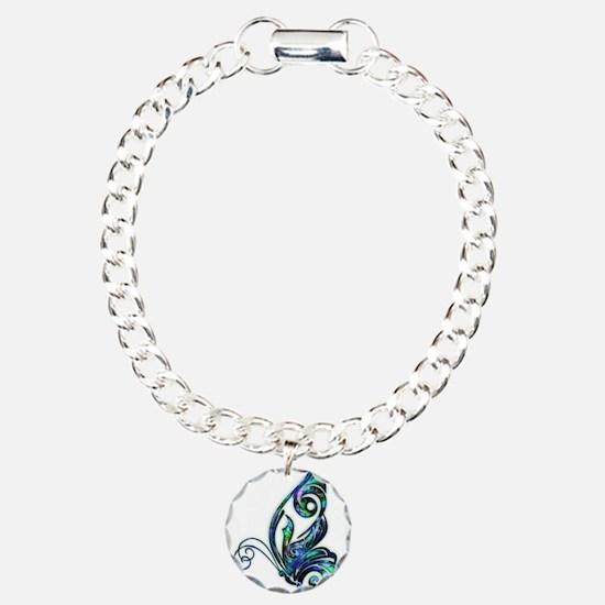Abalone Shell Art Deco B Charm Bracelet, One Charm