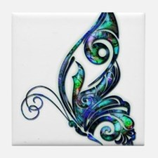 Abalone Shell Art Deco Butterfly Tile Coaster