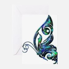 Abalone Shell Art Deco Butterfly Greeting Cards