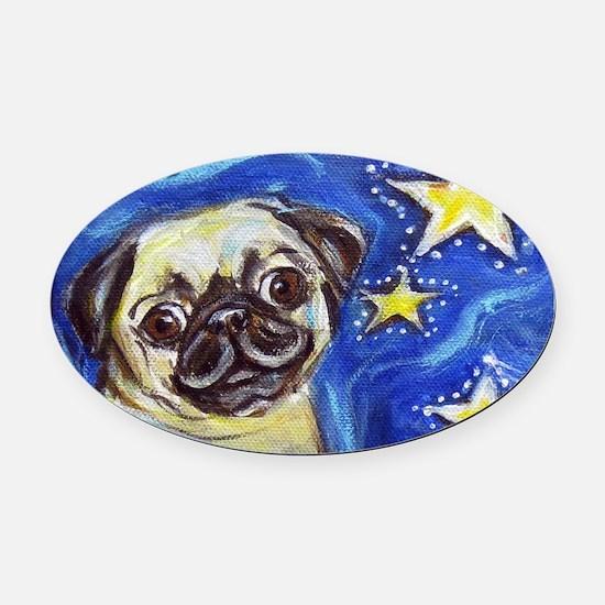 Pug Stars 2 Oval Car Magnet