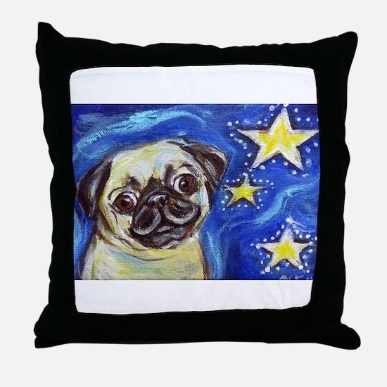 Pug Stars 2 Throw Pillow