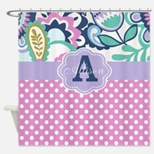 Pink Purple Dots Floral Personalized Shower Curtai