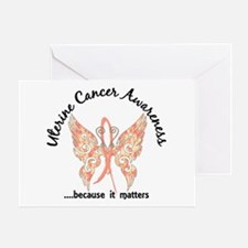 Uterine Cancer Butterfly 6.1 Greeting Card
