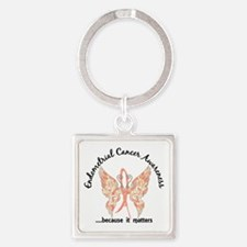 Endometrial Cancer Butterfly 6.1 Square Keychain