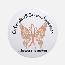 Endometrial Cancer Butterfly 6.1 Ornament (Round)