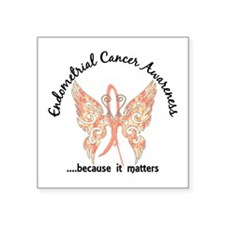"Endometrial Cancer Butterfl Square Sticker 3"" x 3"""