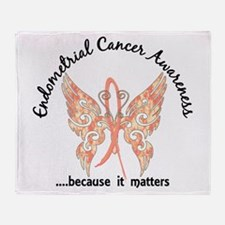 Endometrial Cancer Butterfly 6.1 Throw Blanket