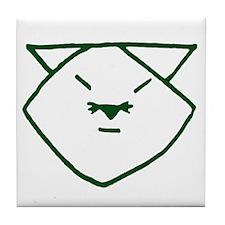 Green Anime Cat Tile Coaster