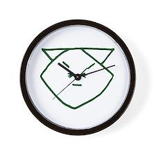 Green Anime Cat Wall Clock