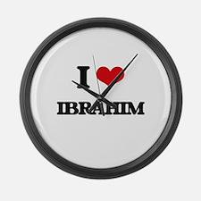 I Love Ibrahim Large Wall Clock
