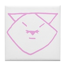 Pink Anime Cat Tile Coaster