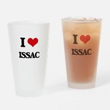 I Love Issac Drinking Glass