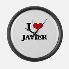 I Love Javier Large Wall Clock