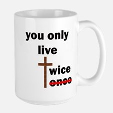 you only live twice 10x10 trans black letter Mugs