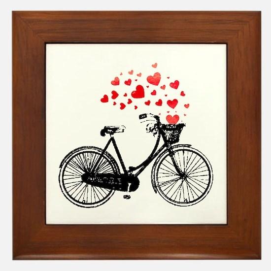 Vintage Bike With Hearts Framed Tile