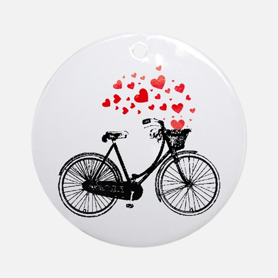 Vintage Bike With Hearts Ornament (round)