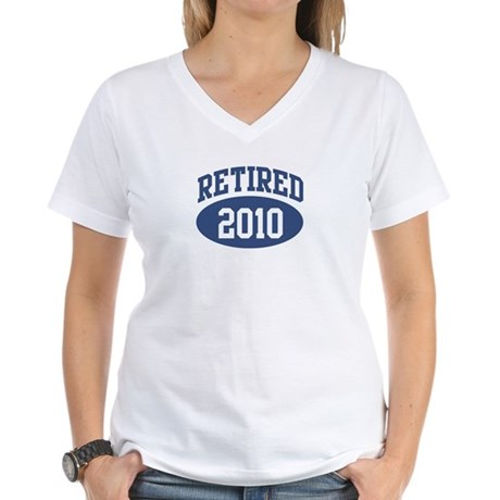 Retired 2010 (blue) Women's V-Neck T-Shirt