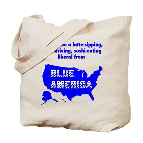 Left Turn Only/Blue America Tote Bag