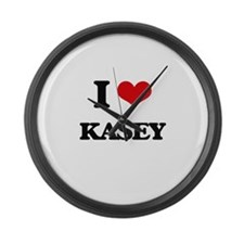 I Love Kasey Large Wall Clock